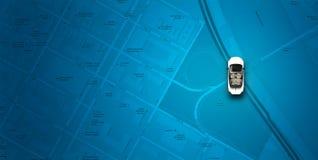Mapa azul com carro Imagem de Stock