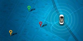 Mapa azul com carro e probabilidade de intercepção Imagem de Stock
