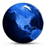Mapa azul de América Fotos de archivo