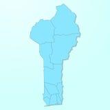 Mapa azul de Benin no fundo degradado ilustração stock