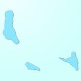 Mapa azul de Comores no fundo degradado ilustração stock
