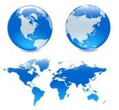 Mapa azul de dois ANG dos globos ilustração do vetor