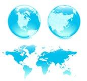 Mapa azul de dois ANG dos globos Fotografia de Stock Royalty Free