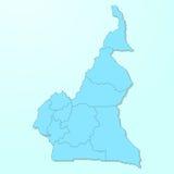 Mapa azul de República dos Camarões no fundo degradado ilustração stock