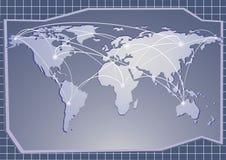 Mapa azul del mundo Fotos de archivo