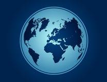 Mapa azul del vector del globo Fotografía de archivo