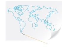 Mapa azul desenhando Fotografia de Stock