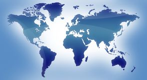 Mapa azul do mundo Imagem de Stock