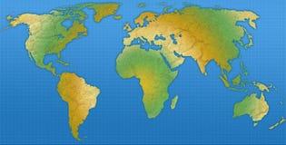 Mapa azul e verde do globo Imagem de Stock