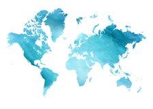 Mapa azul ilustrado de la acuarela del mundo con un fondo aislado Imagenes de archivo