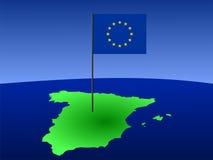 mapa bandery Hiszpanii Zdjęcie Stock