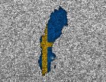 mapa bandery Szwecji Zdjęcie Stock