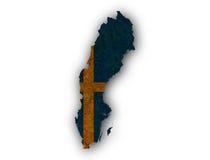 mapa bandery Szwecji Fotografia Royalty Free