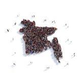 Mapa Bangladesh de la forma del grupo de la gente Imágenes de archivo libres de regalías