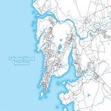 Mapa bicolor de la isla de Salsette, Bombay, la India stock de ilustración