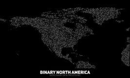 Mapa binario abstracto de Norteamérica del vector Continentes construidos de números binarios Red de información global Imagen de archivo