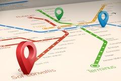 Mapa blured abstracto de Relistic de las rutas del subterráneo en la perspectiva VI stock de ilustración