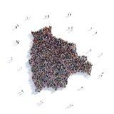 Mapa Bolivia de la forma del grupo de la gente Stock de ilustración