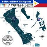 Mapa Boracay wyspa, Filipiny ilustracja wektor
