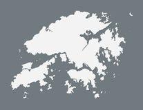 Mapa branco de Hong Kong com única linha de beira na ilustração escura do vetor do fundo foto de stock royalty free