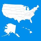 Mapa branco dos EUA Imagens de Stock