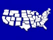 Mapa branco EUA Imagens de Stock