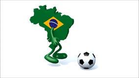 Mapa brasileño con los brazos, piernas que corren con un fútbol Fotografía de archivo libre de regalías