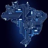 Mapa Brazylia z elektronicznym obwodem Obraz Stock