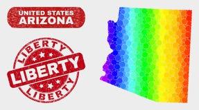 Mapa brillante y desolación Liberty Watermark del estado de Arizona del mosaico stock de ilustración