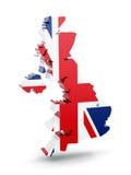 Mapa BRITÂNICO com bandeira Imagens de Stock Royalty Free