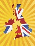 Mapa BRITÂNICO da bandeira de Inglaterra com raias de Sun Imagens de Stock Royalty Free