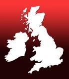 Mapa BRITÂNICO sobre o vermelho Foto de Stock Royalty Free