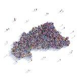 Mapa Burkina Faso da forma do grupo dos povos Foto de Stock Royalty Free