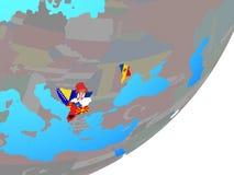 Mapa CEFTA kraje z flagą na kuli ziemskiej ilustracja wektor