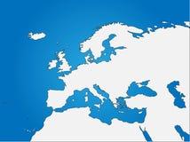 Mapa cego de Europa & de Norte de África ilustração do vetor