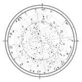 Mapa celestial astrológico del hemisferio norte   ilustración del vector