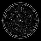 Mapa celestial astrológico do hemisfério Norte: Horóscopo o 1º de janeiro de 2019 ilustração royalty free