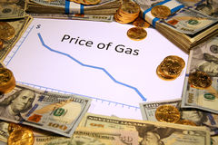 Mapa cena benzynowy spada puszek z pieniądze i złotem Fotografia Royalty Free