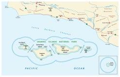 Mapa channel islands park narodowy Obrazy Royalty Free
