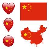 Mapa Chiny z flaga Obraz Stock