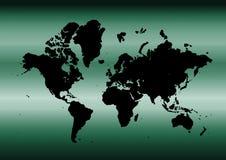 Mapa ciano do mundo Fotografia de Stock Royalty Free