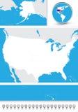 Mapa ciego de los E.E.U.U. Imágenes de archivo libres de regalías