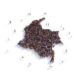 Mapa Colombia de la forma del grupo de la gente Fotografía de archivo