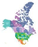 Mapa coloreado de los estados de los E.E.U.U., de Canadá y de México ilustración del vector