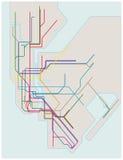 Mapa coloreado del subterráneo de New York City stock de ilustración