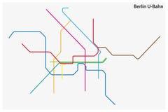 Mapa coloreado del vector del subterráneo de Berlín, Alemania ilustración del vector