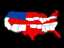 Mapa colorido 3D dos EUA Fotografia de Stock Royalty Free