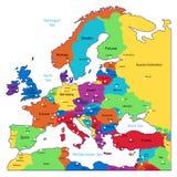 Mapa colorido de Europa Fotografia de Stock Royalty Free