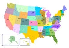 Mapa colorido de los E.E.U.U. con los estados y los capitales Fotos de archivo libres de regalías