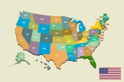 Mapa colorido de los E.E.U.U. con los estados y los capitales Foto de archivo
